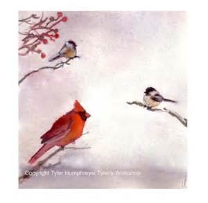 winter birds greeting card bird cardinal by tylersworkshop