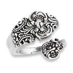 sterling silver ornate vintage spoon ring