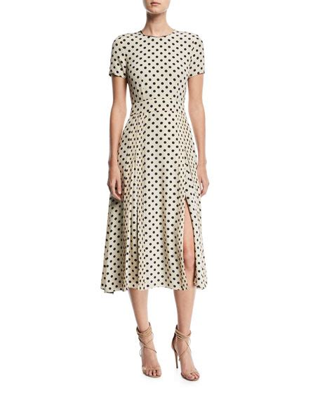 Dotted Sleeve Midi Dress burberry sleeve dotted dress