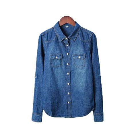 Denim Blouse plus size vetement new 2016 clothes blouse sleeves denim shirt nostalgic vintage blue