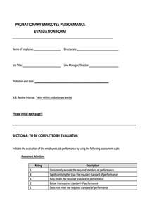sle employee evaluation form template probation meeting template 28 images unsuccessful