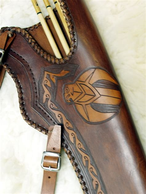 Handmade Quiver - handmade leather quiver falcon hunarchery the recurve