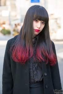black with red dip dye hair dark harajuku fashion w alice auaa black peace now