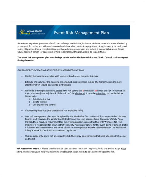 event risk management template 8 risk management plan templates free sles exles