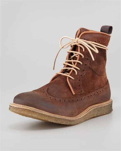rogue boots mens rogue pachua suede wingtip boot chocolate in brown for