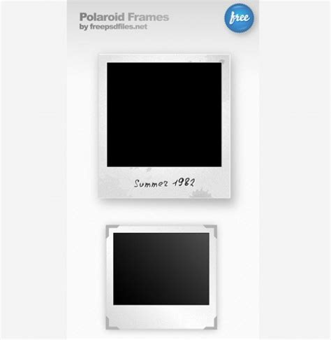 2 vintage polaroid photo frames set psd freebie psdfinder co