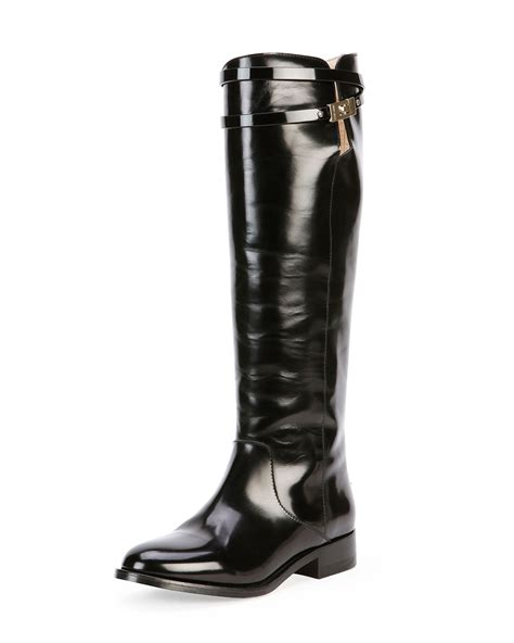 jimmy choo hyson belted leather knee boot in black lyst