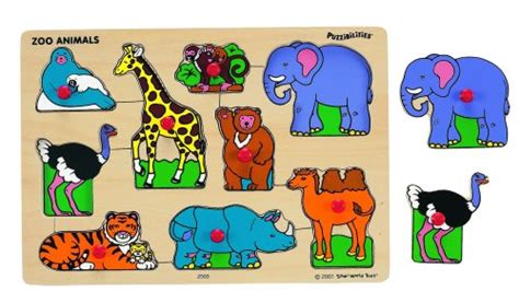 Spesial Knob Puzzle Zoo Animals small world toys s room wooden puzzle classic zoo animals