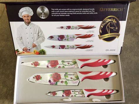 Pisau Dapur Kitchen Set Knife Motif Buah Sayur stainless steel knife flower set by everrich 11street malaysia cooking knives
