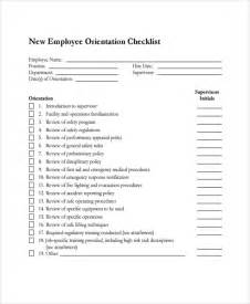New Employee Orientation Template by Sle New Employee Checklist 9 Free Documents