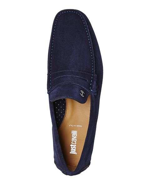 just for shoes just cavalli blue suede driving shoes in blue for lyst