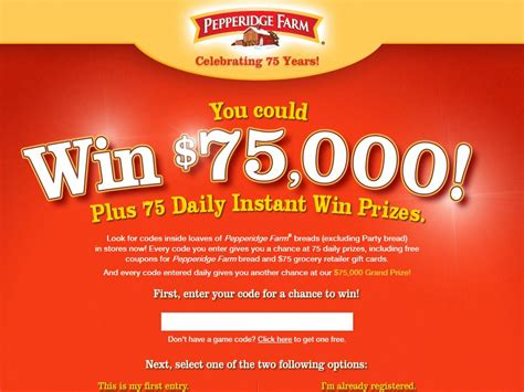 Instant Win Sweepstakes Today - pepperidge farm celebrating 75 years instant win game and sweepstakes