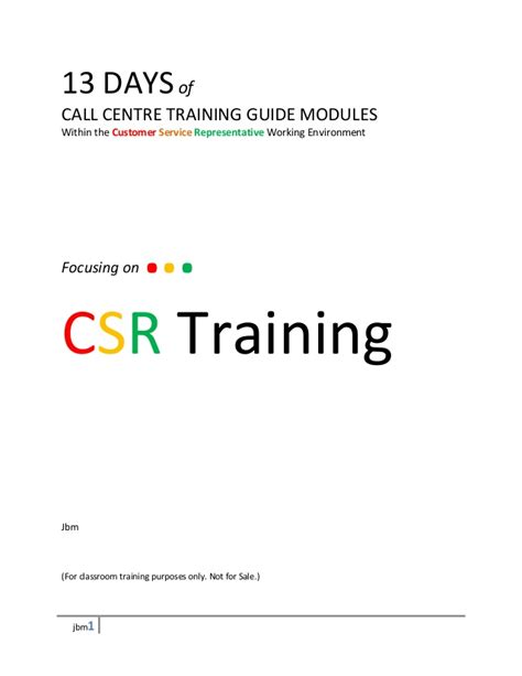 customer service manual template 13 days call center module