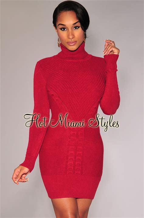red textured turtleneck knit sweater dress