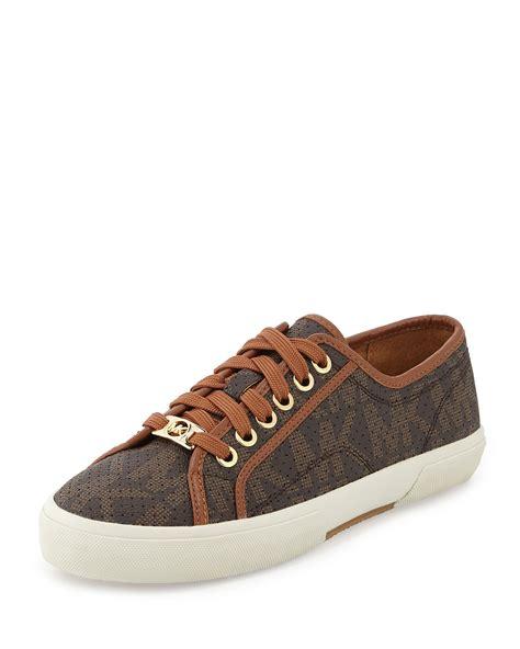 michael kors brown sneakers michael michael kors boerum perforated logo sneaker in