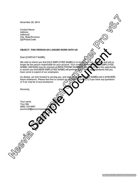 Customer Letter For Departed Employee Sle Customer Letter For Departed Employee Lawyer Au