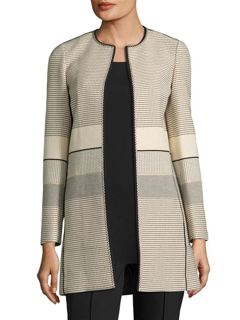 Sweater Casual Pria 20 lafayette 148 new york pria piped jacket in lyst