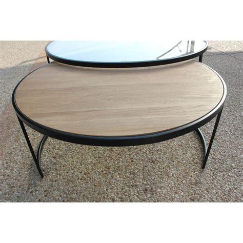 table basse ronde plateau verre le bois chez vous