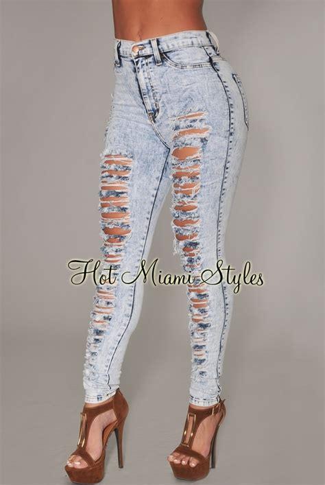 light wash ripped skinny jeans light blue acid wash denim destroyed high waist skinny jeans