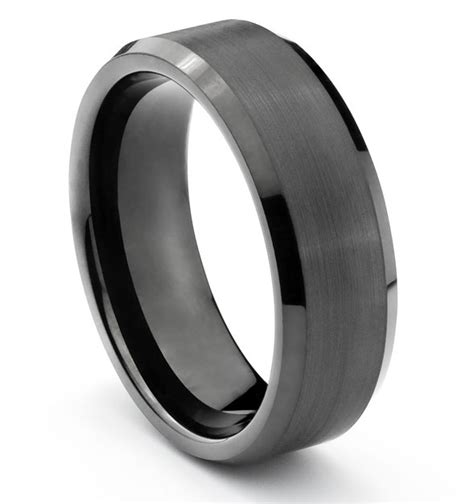 8mm tungsten mens brushed polished black wedding band