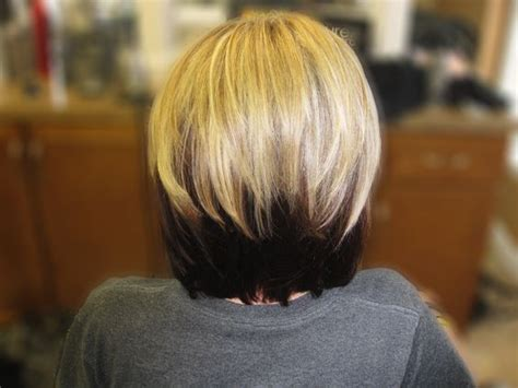 bob with lighter top and darker bottom blonde hair with dark brown underneath really want to do