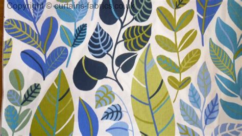 blue pattern fabric uk boljande blad sold out by monkwell in blue curtain fabric