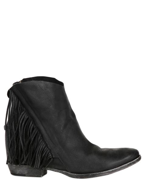 cinzia araia 60mm leather fringe ankle boots in black lyst