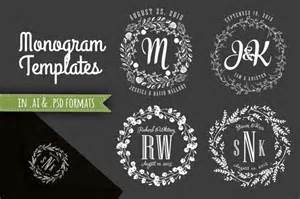 free printable monogram templates 4 monogram templates ai and psd templates on creative market