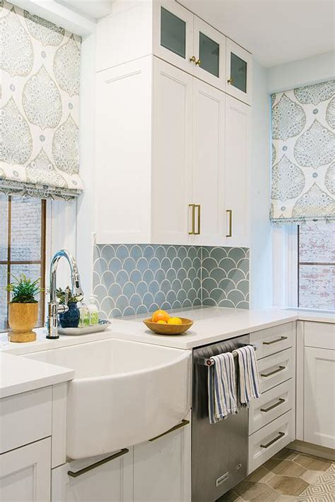 Blue Kitchen Backsplash Tiles with White Cabinets