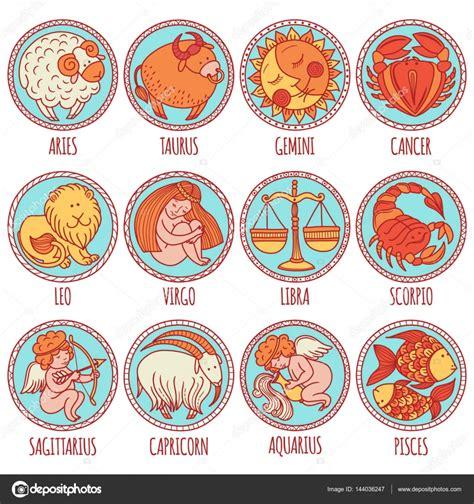 imagenes signo ok conjunto de ilustraci 243 n con los signos del zodiaco dibujos