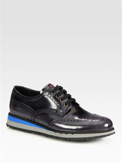 mens platform sneakers prada wingtip platform sneakers in black for asphalt