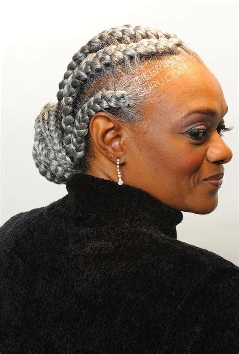 grey braiding hair french braids right side view braids by thebraidguru com