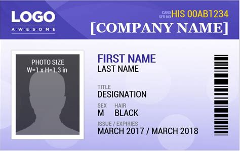 id card template docs ms word photo id badge sle template word excel