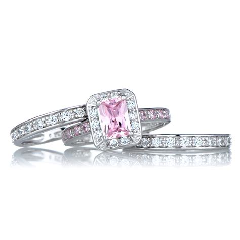 Pink Diamond Black Wedding Ring Fake Pink Diamond Wedding