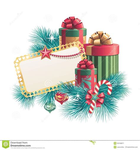 christmas gift boxes with blank greeting card stock image