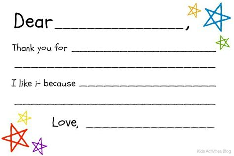 Thank You Note Template Blank Fill In The Blank Thank You Note Free Printable