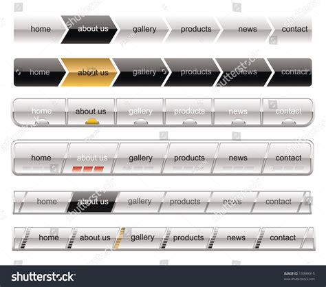 white menu buttons navigation template stock vector