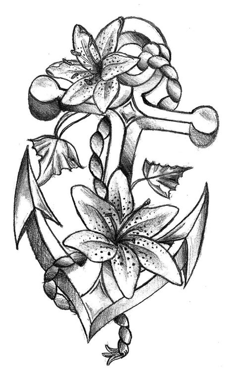 flower anchor tattoo coloring pages