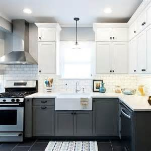 Two Tone Grey Kitchen Cabinets Two Tone Kitchen Cabinets Are One Of The Trends We This Year This Vintage Modern Kitchen