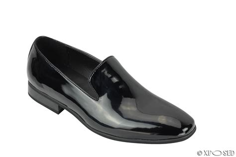 mens suede shiny patent leather line slip on loafers