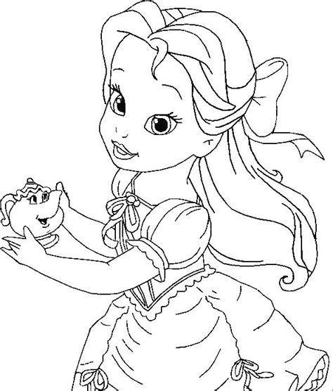 disney princess belle coloring pages to print little belle coloring for kids princess coloring pages