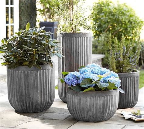 pottery barn planters concrete fluted planters pottery barn