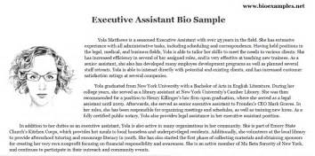 executive assistant bio esle bio exles