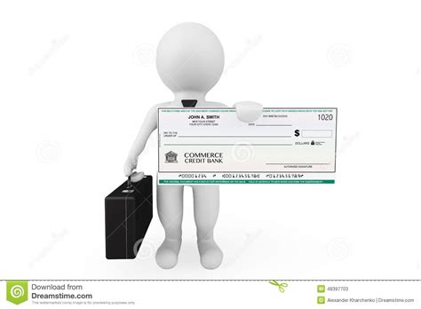5150 Hold Background Check 3d Businessman Hold Banking Check Stock Illustration
