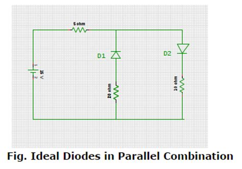 diodes in parallel value of current in circuit consisting of two oppositely connected ideal diodes in parallel