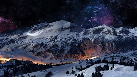 winter wallpaper for mac desktop 1366x768 graceful winter mountain night desktop pc and mac