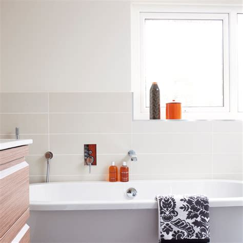 Bathroom With Orange Accents Bathroom Designs Bathroom Bathroom Accessories Orange
