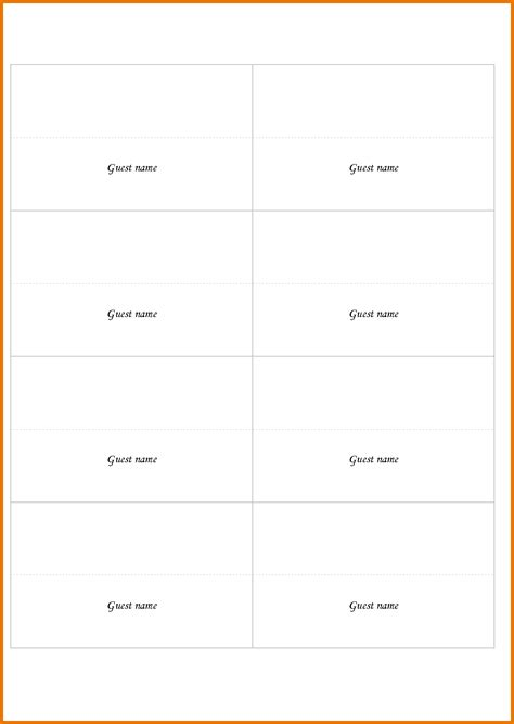 fold place card template free 7 place card template