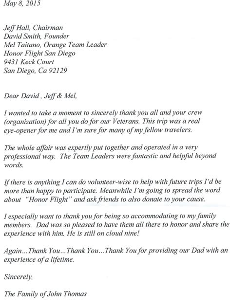 Cover Letter For A Non Profit Sle by Honor Flight Letter Exles Never Forgotten Honor Flight