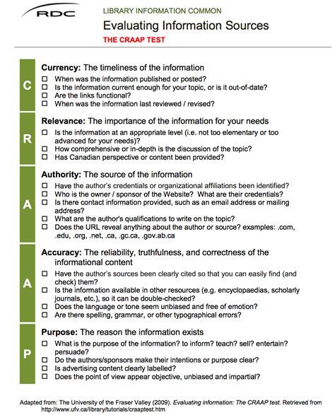 website evaluation tutorial excellent checklist for evaluating information sources